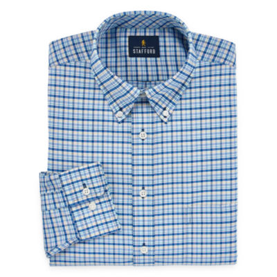 Stafford Travel Wrinkle-Free Stretch Oxford Mens Button Down Collar Long Sleeve Wrinkle Free Stretch Dress Shirt