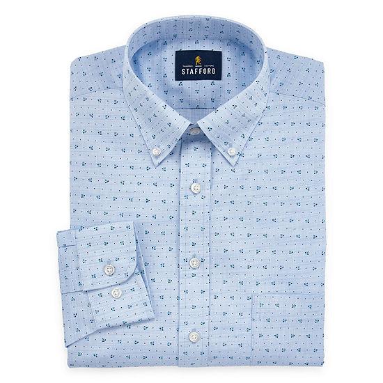 Stafford Mens Wrinkle Free Linen Look Big and Tall Dress Shirt