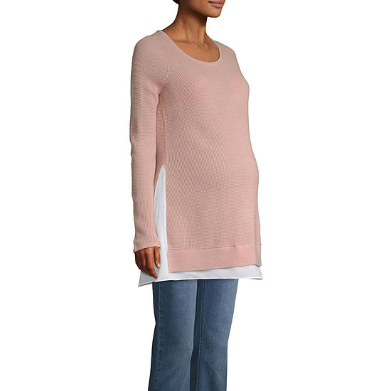 0c48194e3011c Belle & Sky Maternity Thermal Stitch Sweater - JCPenney