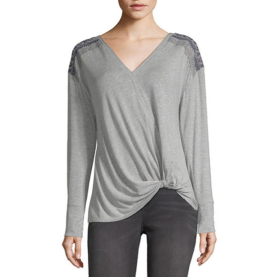 Artesia Womens V Neck Long Sleeve Blouse