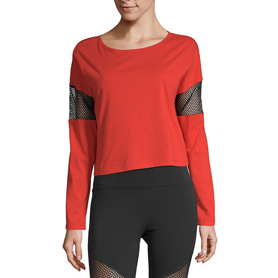 Flirtitude-Womens Round Neck Long Sleeve T-Shirt Juniors
