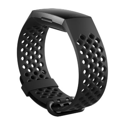 Fitbit Charge 3 Unisex Black Watch Band-Fb168sbbkl