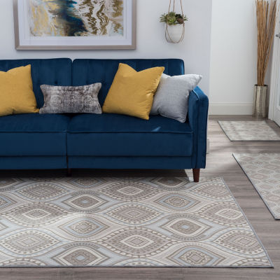 Tayse Gia Contemporary Geometric Indoor Three Piece Rectangular Rug Set