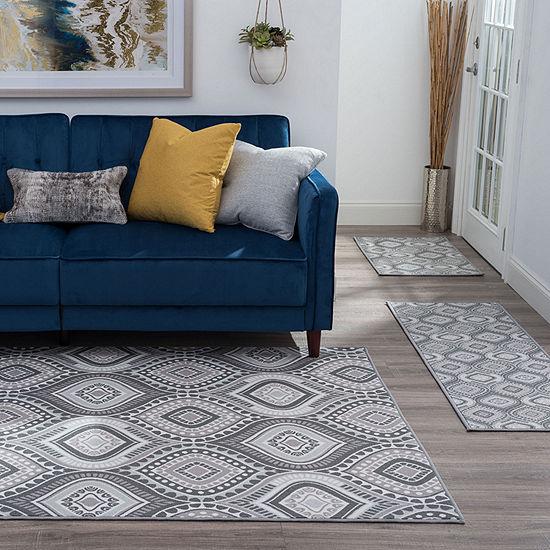 Tayse Imogen Contemporary Geometric Indoor Three Piece Rectangular Rug Set