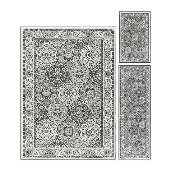 Tayse Hyatt Traditional Oriental Indoor Three Piece Rectangular Rug Set