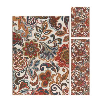 Tayse Dede Transitional Floral Indoor Three Piece Rectangular Rug Set