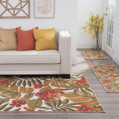 Tayse Alani Transitional Floral Indoor Three Piece Rectangular Rug Set