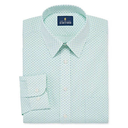 Stafford Mens Wrinkle Free Stain Resistant Stretch Super Shirt Dress Shirt, 15 32-33, Green