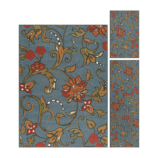 Tayse Averie Transitional Floral Indoor Three Piece Rectangular Rug Set