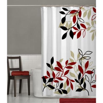 Maytex Satori Leaf Print Shower Curtain