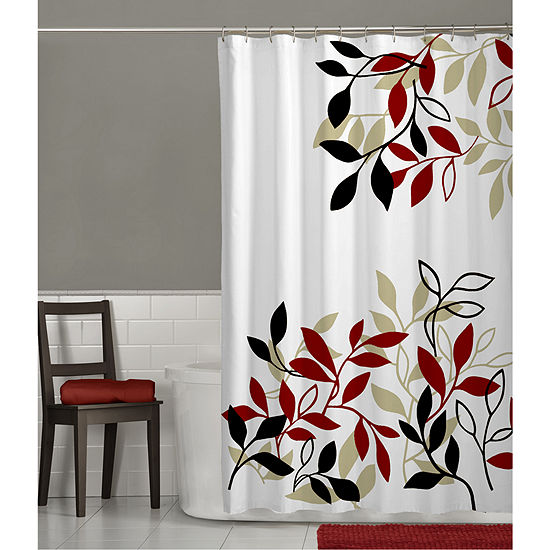 Maytex Satori Leaf Print Shower Curtain