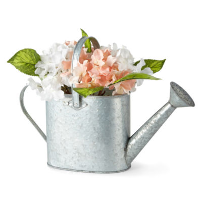 JCPenney Home Water Can with Hydrangeas Tabletop Decor