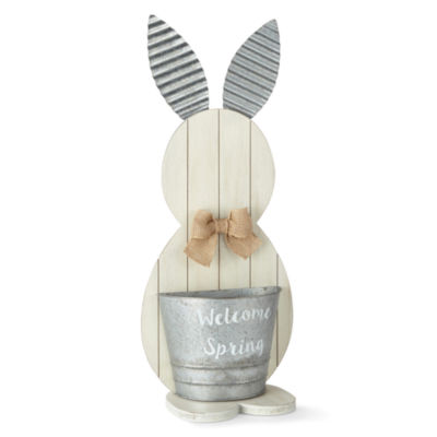 JCPenney Wood Bunny Planter