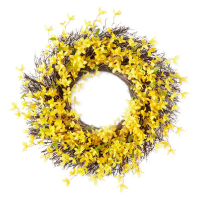"JCPenney 22"" Yellow Floral Wreath"