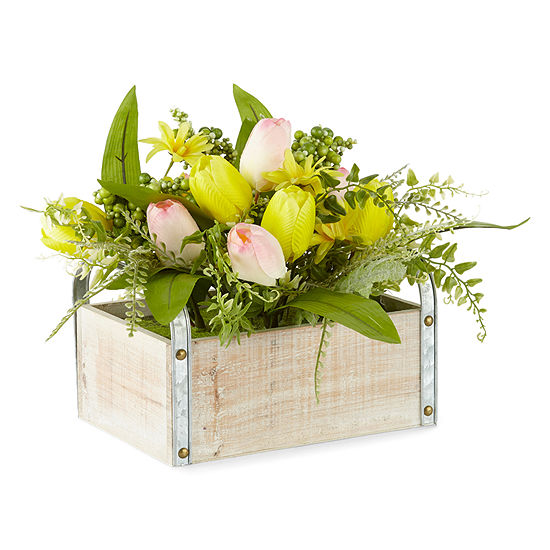 JCPenney Home Spring Tulip Woodbox Tabletop Decor