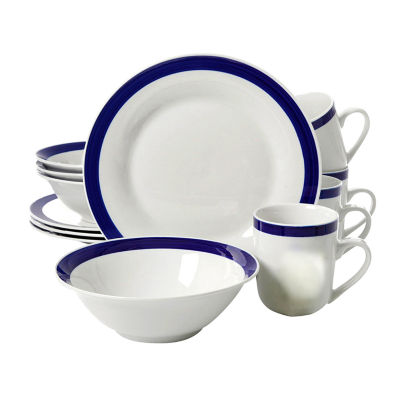 Nantucket Sail 12 Pc Dinnerware Set - Blue Banded - Fine Ceramic