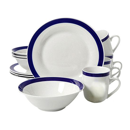 Nantucket Sail 12 Pc Dinnerware Set - Blue Banded - Fine Ceramic