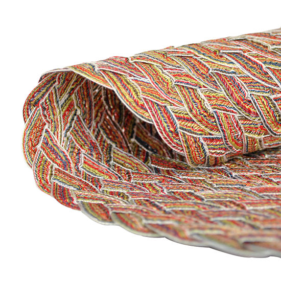 Design Imports Round Variegated Braided Indoor/Outdoor Placemat Set of 6