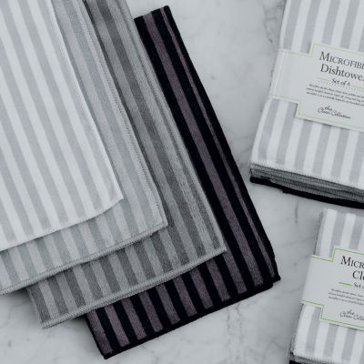 Stripe Microfiber Dishtowel Set - Set of 4