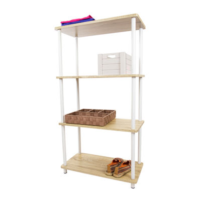 Home Basics Pine Wood 4 Tier Rectangular Corner Shelf