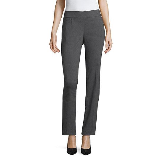 Liz Claiborne-Petite Straight Fit Straight Trouser