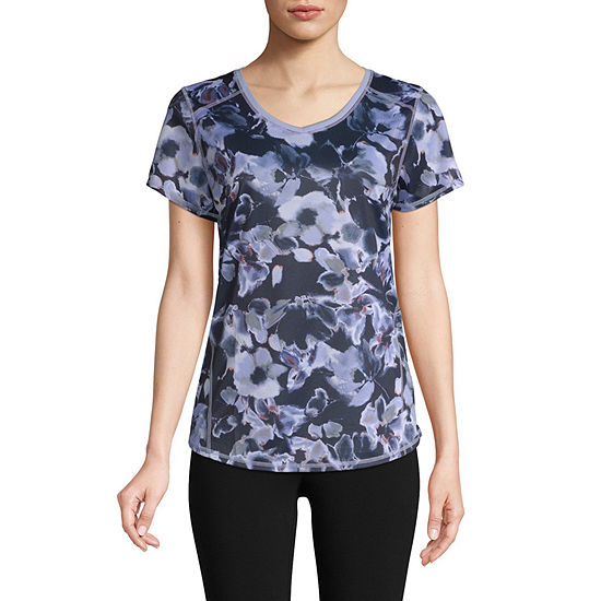 St. John's Bay Active Quick Dry-Womens V Neck Short Sleeve T-Shirt