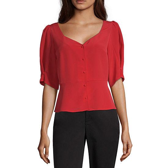Worthington Womens Sweatheart Neck Short Sleeve Blouse
