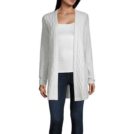 Liz Claiborne Long Sleeve Open Front Cardigan Jcpenney