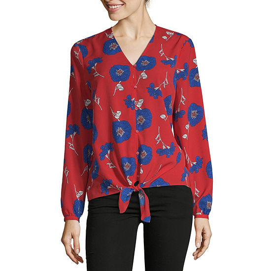 Liz Claiborne Long Sleeve V-Neck Tie Front Top