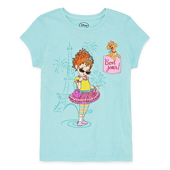Disney Collection Little & Big Girls Crew Neck Fancy Nancy Short Sleeve T-Shirt