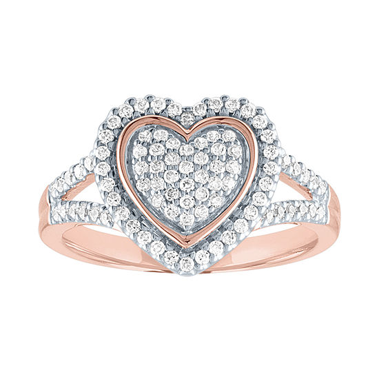 Womens 1/3 CT. T.W. Genuine Diamond 10K Rose Gold Heart Cocktail Ring