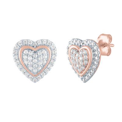 1/3 CT. T.W. Genuine Diamond 10K Rose Gold 11mm Heart Stud Earrings