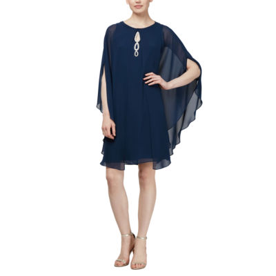 S. L. Fashions Sleeveless Beaded Chiffon Dress with Removable Shrug