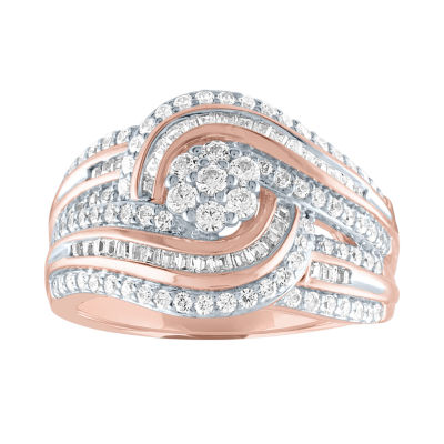 Diamond Blossom Womens 1 CT. T.W. Genuine Diamond 10K Rose Gold Cocktail Ring