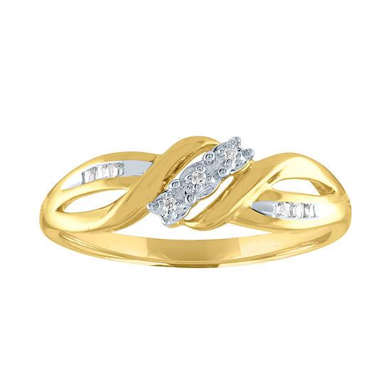 Womens Diamond Accent Genuine Diamond 10K Gold Cocktail Ring