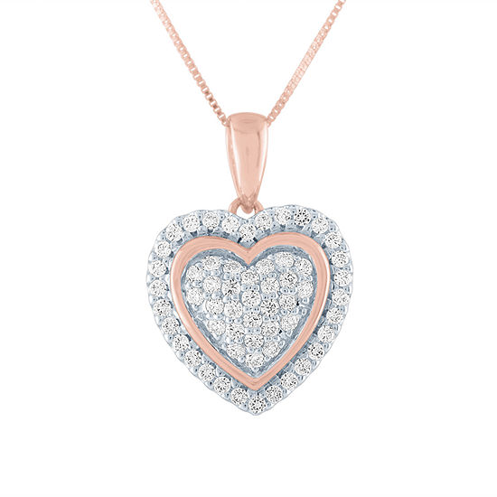 Womens 1/3 CT. T.W. Genuine Diamond 10K Rose Gold Heart Pendant