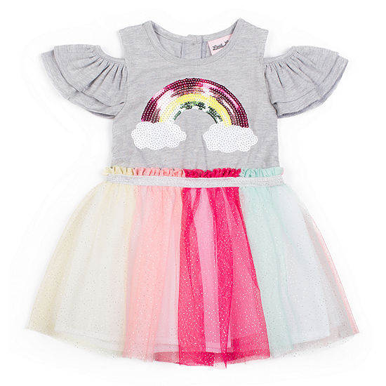 Little Lass Girls Short Sleeve Tutu Dress - Toddler
