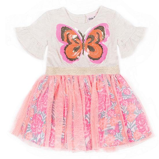 Little Lass Short Sleeve Tutu Dress - Toddler Girls