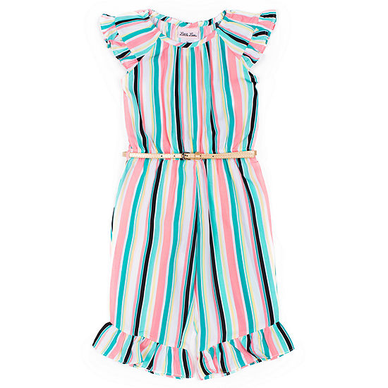Little Lass Girls Belted Jumpsuit - Toddler
