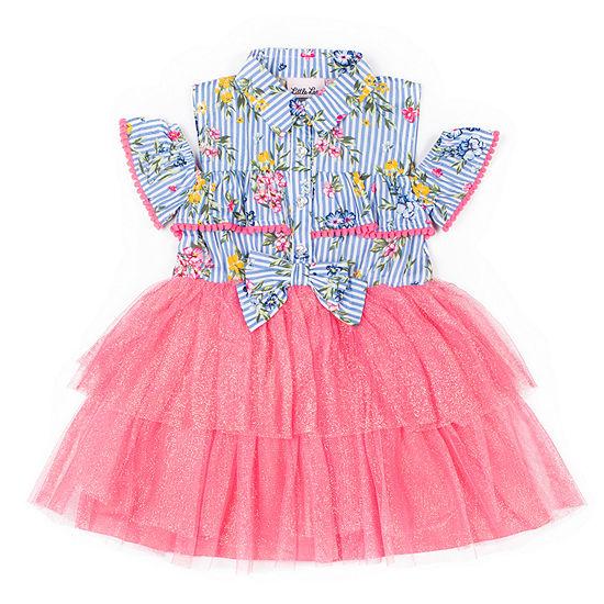 Little Lass Embellished Short Sleeve Tutu Dress - Toddler Girls