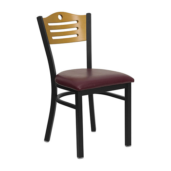 Hercules Series Black Slat Back Metal Restaurant Chair