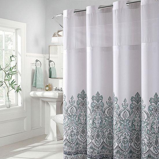 Hookless Damask Border Print Shower Curtain Set