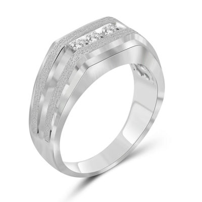 Mens 1/4 CT. T.W. Genuine White Diamond 10K Gold Fashion Ring