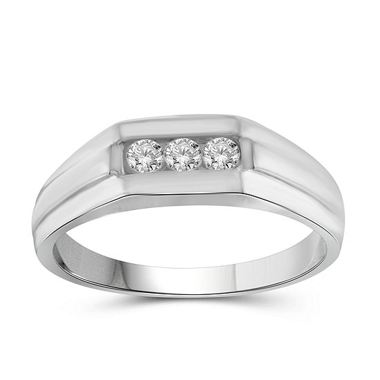 Mens 1/4 CT. T.W. Genuine White Diamond 10K Gold Fashion Ring