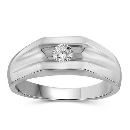 Mens 1/3 CT. T.W. Genuine Round White Diamond 10K
