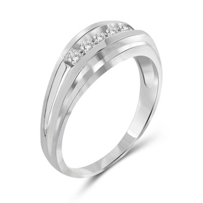 Mens 1/3 CT. T.W. Round White Diamond 10K