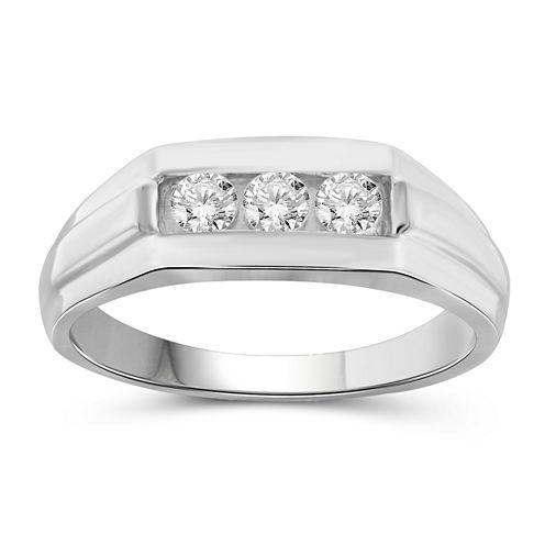 Mens 1/2 CT. T.W. Genuine Round White Diamond 10K