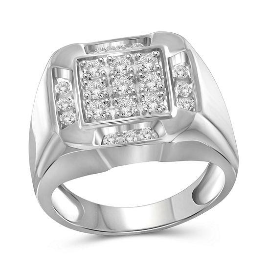 Mens 1 CT. T.W. Genuine White Diamond 10K Gold Fashion Ring