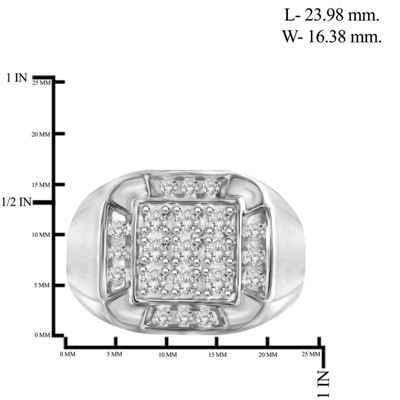Mens 1 CT. T.W. Genuine White Diamond 10K Gold