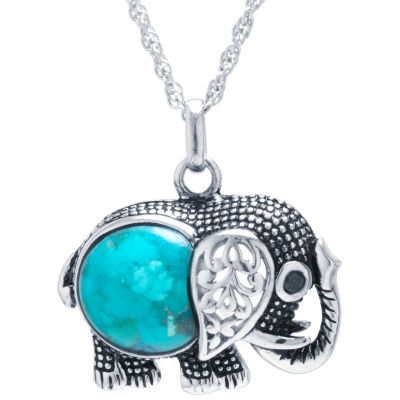 Enhanced Turquoise Sterling Silver Elephant Pendant Necklace